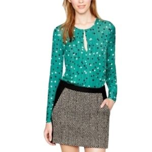 J.Crew 100% Silk Pleated Abstract Dot Blouse